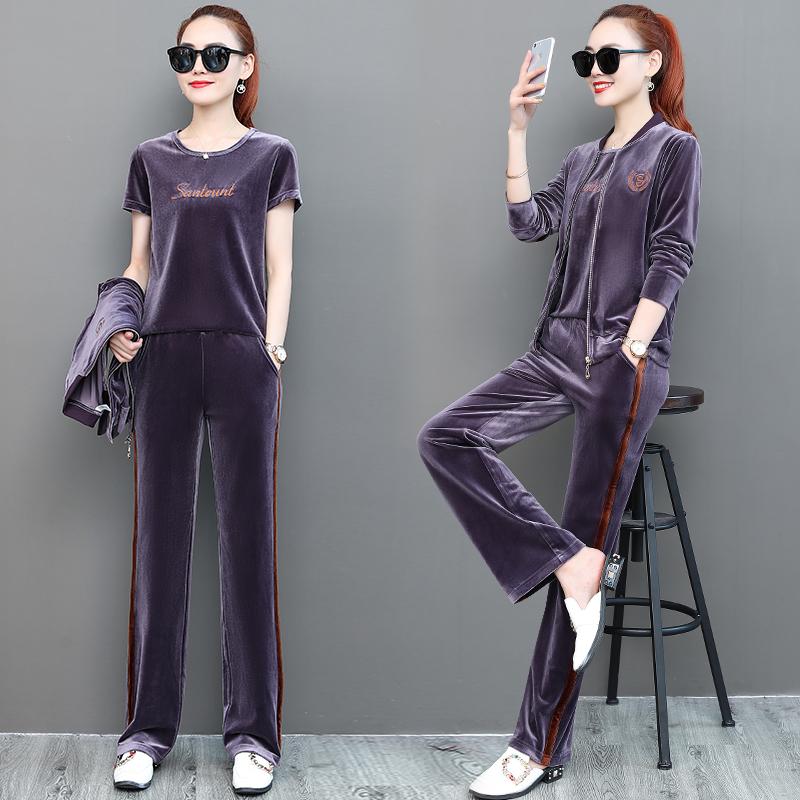 金丝绒运动套装女春秋2020新款时尚大码薄款开衫卫衣阔腿裤三件套图片