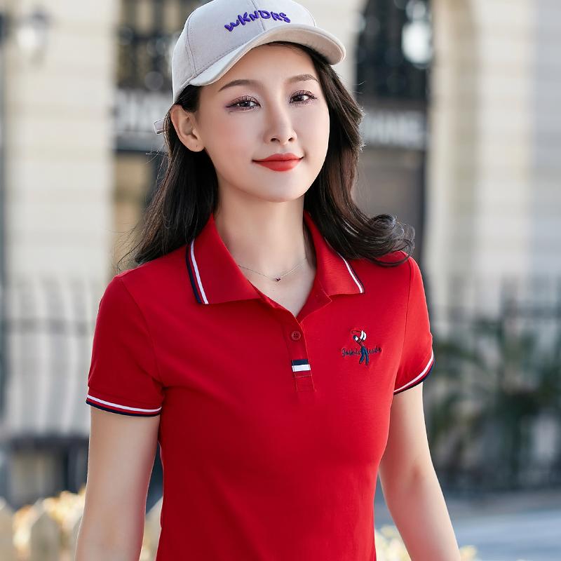 2020夏季新款纯棉短袖t恤女带领休闲女装运动翻领polo衫女士体恤
