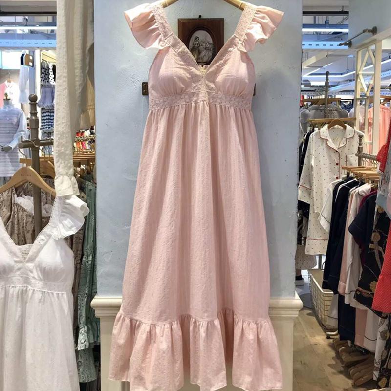 韩版蕾丝花边吊带睡裙少女带胸垫夏季纯棉甜美可爱粉色公主风睡衣
