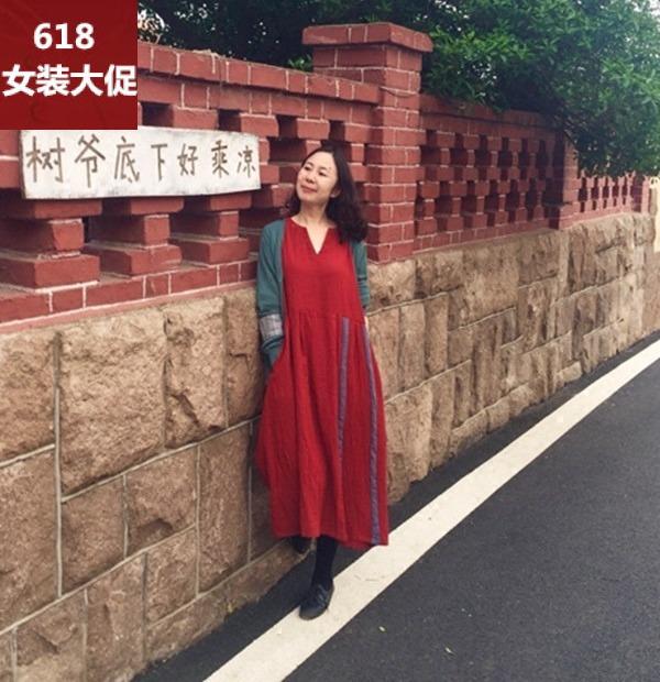 绽放B071/朱莎/红色亚麻长袖大摆中长款连衣裙女秋冬旅行女装宽松