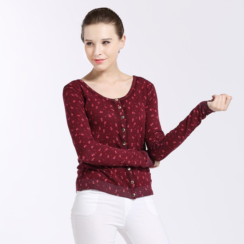 New knitted cardigan female crew neck versatile fashion pattern printing short slim bottomed sweater female