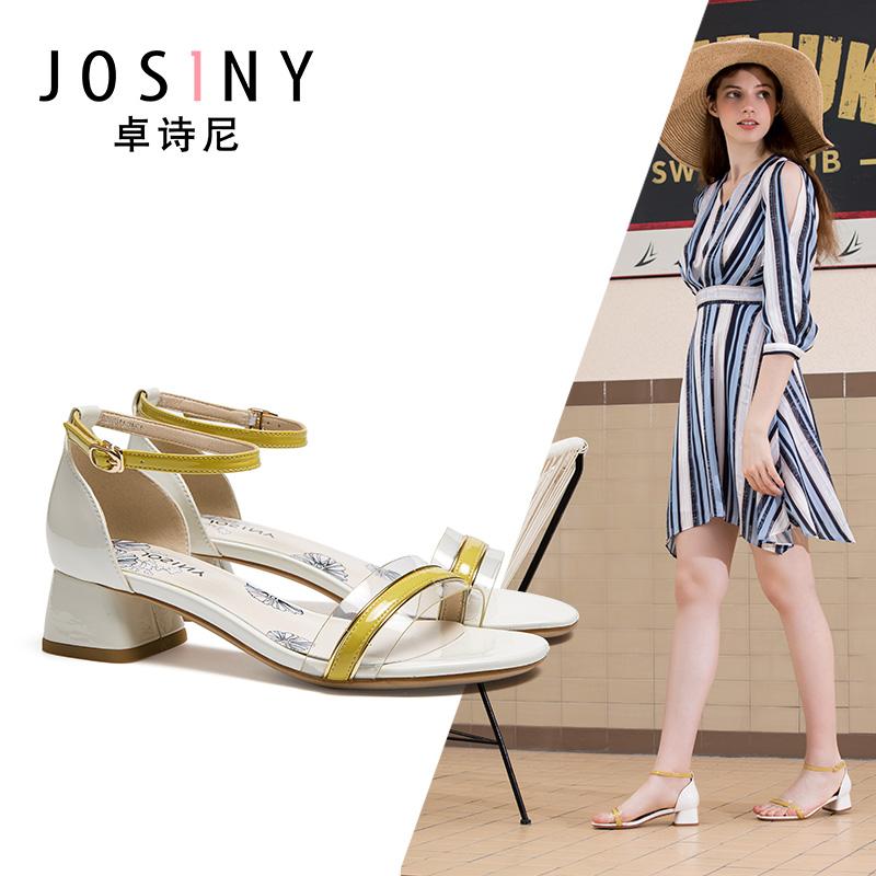 4卓诗尼2019夏季新款中跟粗跟透明带包跟时尚百搭凉鞋41012图片