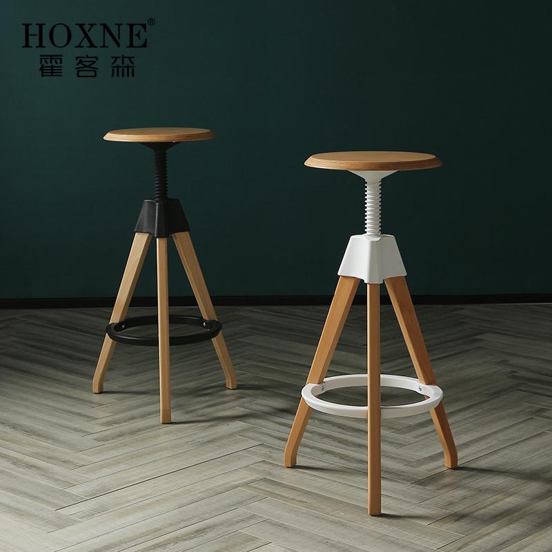 霍客森北欧实木升降吧凳现代家用吧台椅创意休闲转椅酒吧高脚凳
