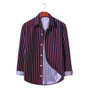 男装时尚条纹长袖衬衫AL007-P30藏青红条,男装衬衫,星座1801