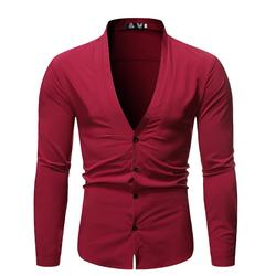 新款外贸男装时尚百搭纯色立领男士长袖衬衫TX08-P35 红色