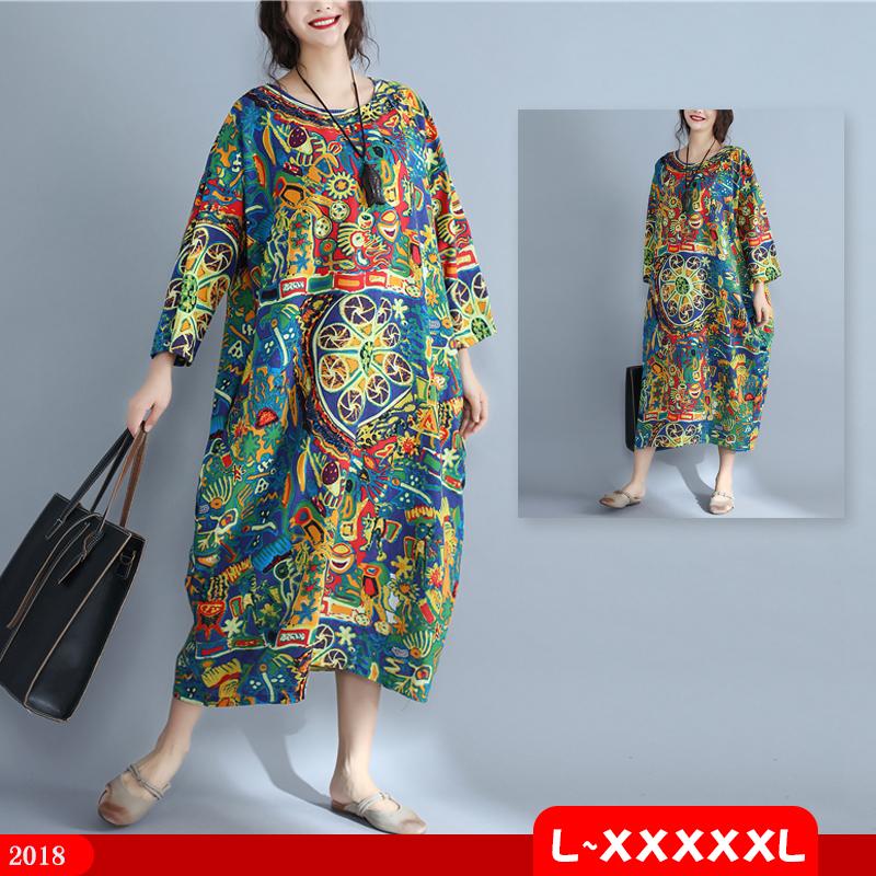 秋季民族风胖MM加肥加大码中年女装显瘦200斤度假旅游长袖连衣裙
