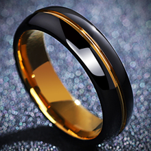 Tungsten gold single ring men's ring men's fashion personality single index finger ring boys engraved tail ring black customization