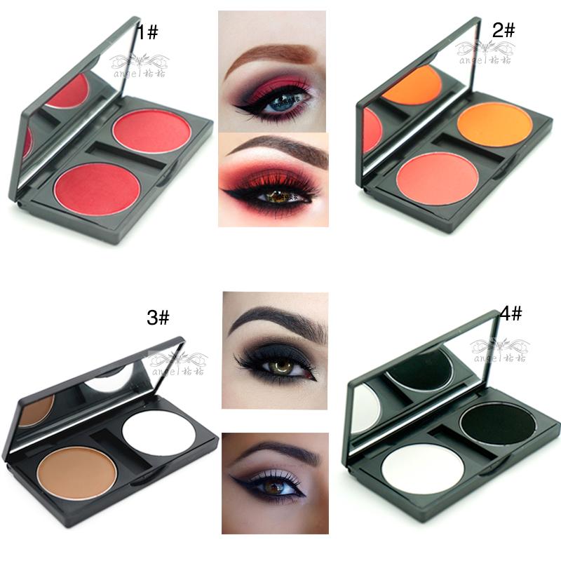 哑光红色眼影白色带盒黑白桔色双色搭配眼影盘彩妆舞台妆烟熏包邮(非品牌)