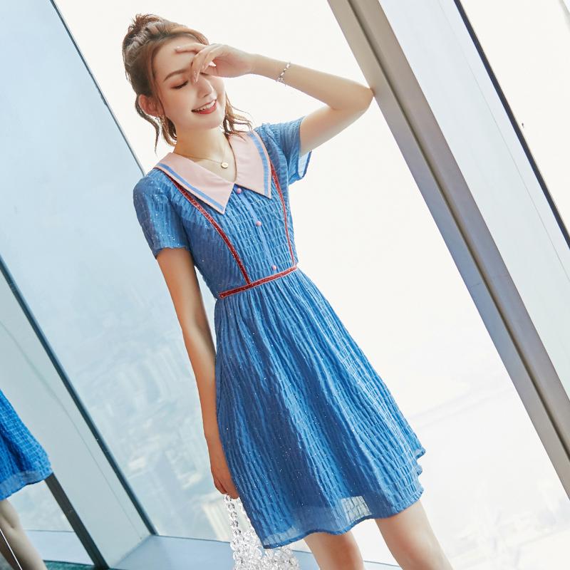 新款连衣裙2021名媛收腰显瘦 气质娃娃领a字桔梗裙初恋裙 森系