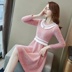 春季新款2020女装毛衣裙小香风圆领显瘦长袖粉色针织打底连衣裙