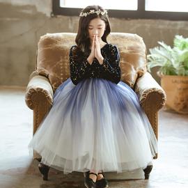 女童公主裙礼服花童洋气秋冬钢琴表演主持演出儿童生日长裙蓬蓬裙