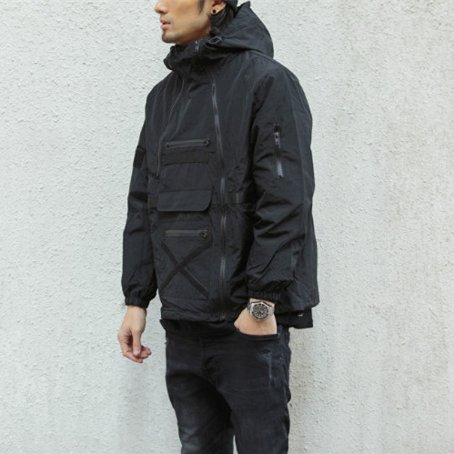 Spring and summer simple Japanese versatile multi zipper large pocket sports outdoor function mens Hong Kong style solid color windbreaker coat