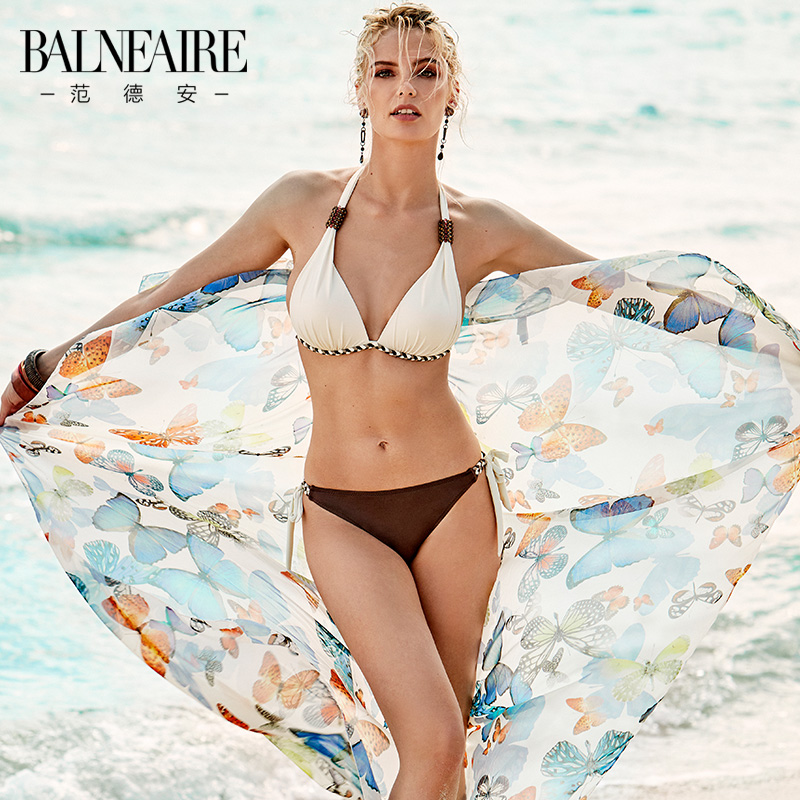 Van der Anins sexy bikini sunscreen three-piece suit with small breasts gathered to show a thin beach triangle swimsuit woman