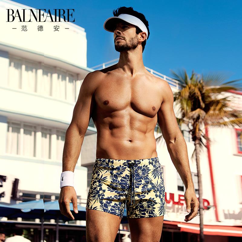范德安泳裤男 运动平角大码宽松男士游泳衣 时尚速干温泉沙滩裤