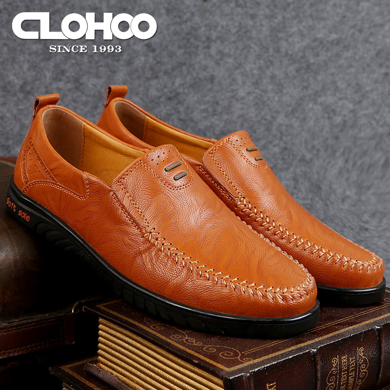 Mens leather casual shoes breathable perforated comfortable low top shoes soft soles soft leather fashion sets feet lazy shoes men