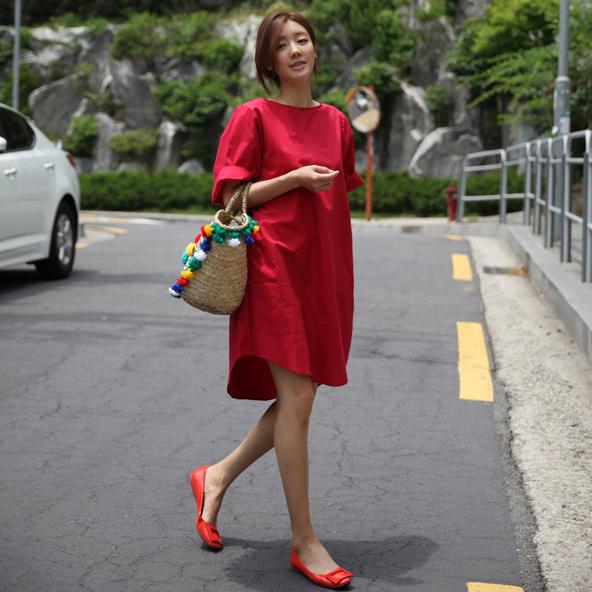 2020夏季韩国东大门宽松酒红色五分袖显瘦直筒棉麻连衣裙女中长款图片