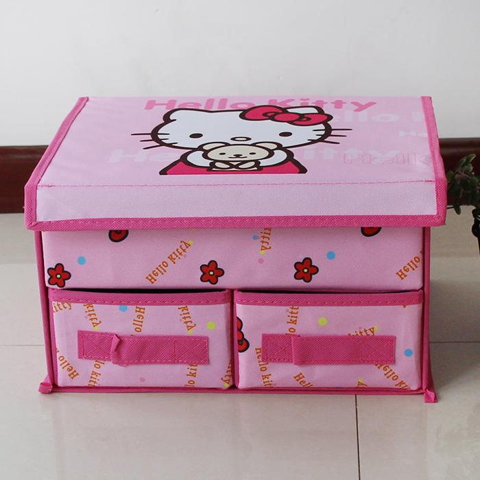 满9.9元包邮Hello kitty内衣内裤收纳箱整理箱可折叠双抽屉收纳盒