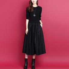2020秋冬新款韩版气质假两件拼接中长款显瘦打底羊毛针织连衣裙女