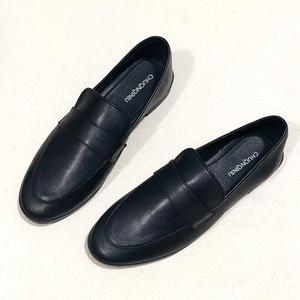 黑色豆豆鞋女平底上班职业软底银行工作鞋一脚蹬小皮鞋软皮英伦风