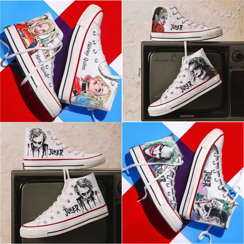 High top canvas shoes mens fashion cool clown Marvel co branded shoes animation hand painted graffiti Heath Ledger preferential board shoes