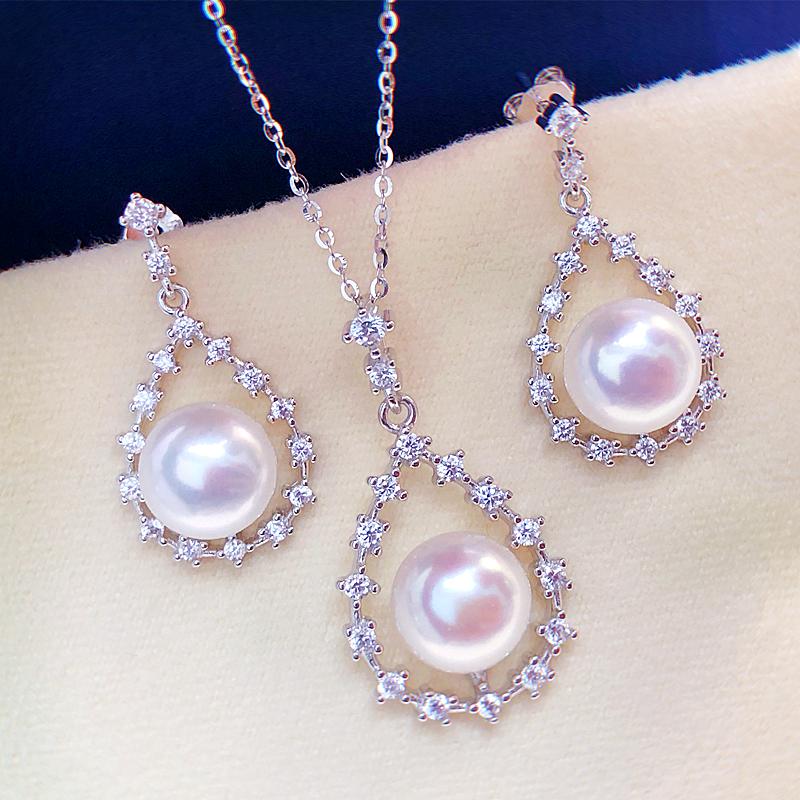 耳环akoya强光媲美纯银925吊坠耳钉耳坠天然淡水珍珠首饰套装