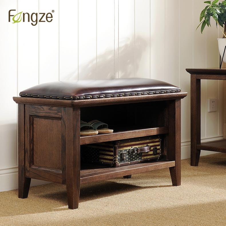 Fengze美式简约换鞋凳鞋柜门厅实木玄关储物床尾鞋架穿鞋凳AS813
