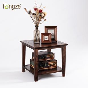 Fengze實木方茶幾美式簡約咖啡桌客廳橡木家具正方形邊幾AS516P