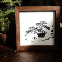 原创摆台实木相框黑胡桃木装饰画生命清供见微系列一行物