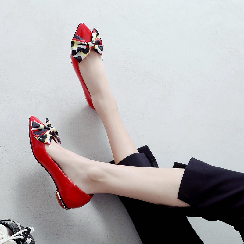 2020春秋新款浅口平底单鞋女红色小皮鞋蝴蝶结平跟尖头瓢鞋子大码