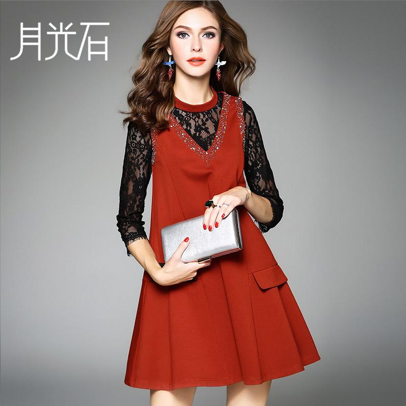 月光石秋季女立领七分袖纯色镶钻拼接假两件连衣裙AL8438