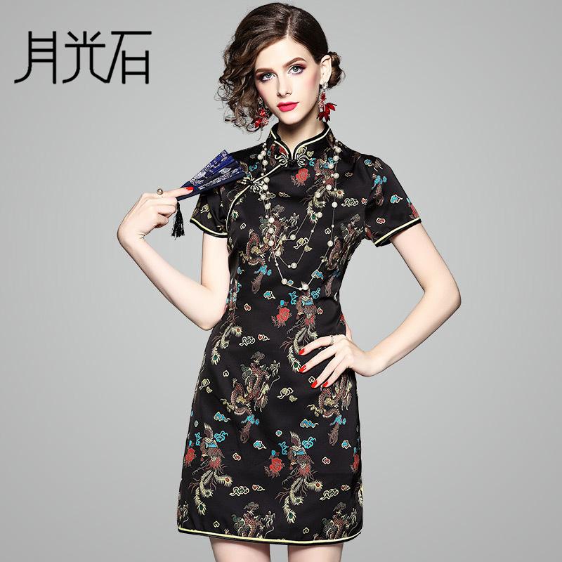 月光石新款印花女改良修身版中国风龙凤图案旗袍连衣裙OL80647