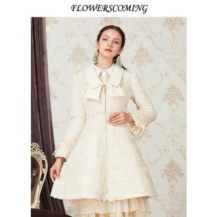 花儿开了2020冬季新款蕾丝网纱绣花羽绒服女中长款外套淑女娃娃领