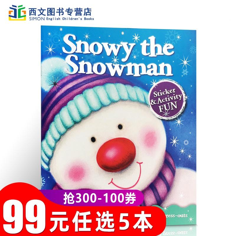 英文原版  Christmas Fun: Snowy the Snowman 圣诞节的乐趣:雪人 内附贴纸 0-3-6岁幼儿启蒙认知读物 亲子互动英语游戏绘本童书