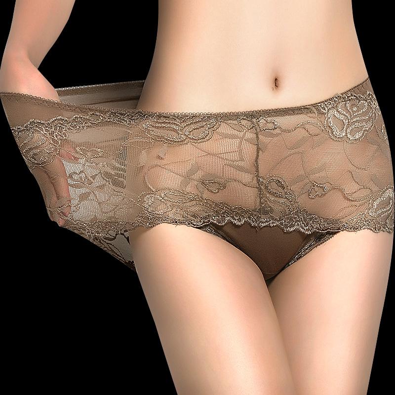 四条装大码女士内裤 中高腰性感透明蕾丝收腹提臀舒适胖mm可穿