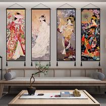 日式仕女图布艺挂画和风背景墙装饰画网红壁毯挂毯玄关卧室挂布