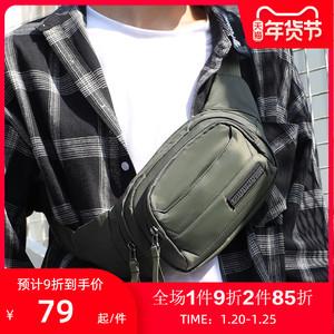 华朗迪尔帆布包男士多功能小腰包时尚潮流斜挎包手机包牛津布男包