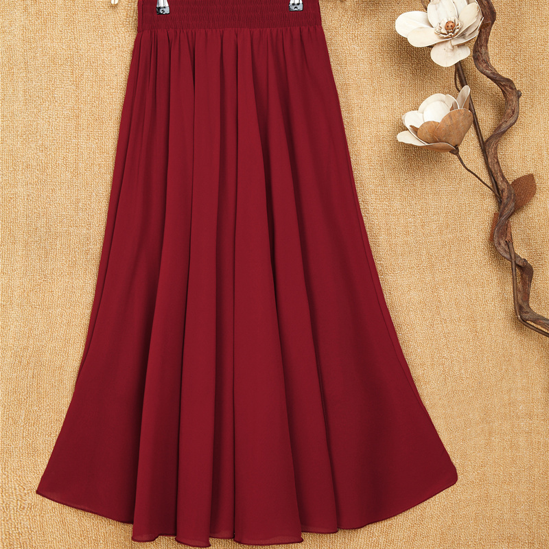 Middle aged and old womens skirt new pleated skirt in spring and summer 2021