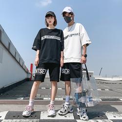 【有质检报告】夏季潮流情侣短袖t恤套装五分裤两件套男DS399TP75