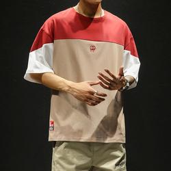 19新款男士拼色短袖T恤潮流个性刺绣宽松简约五分袖tee DS349TP25