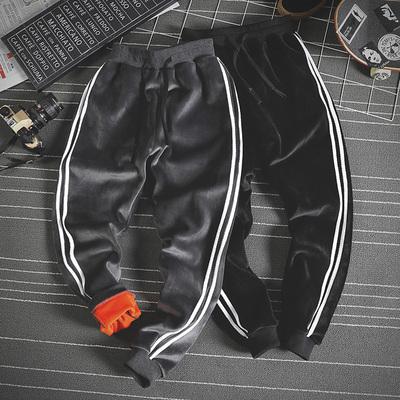 日系潮流休闲运动裤加绒加厚裤子男冬季双面绒束脚卫裤DJ946TP60