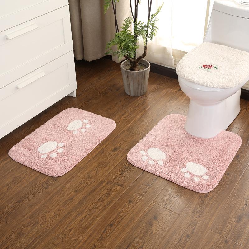 全棉可爱卡通浴室防滑垫 儿童U型马桶地垫脚垫卫生间门垫地垫地毯
