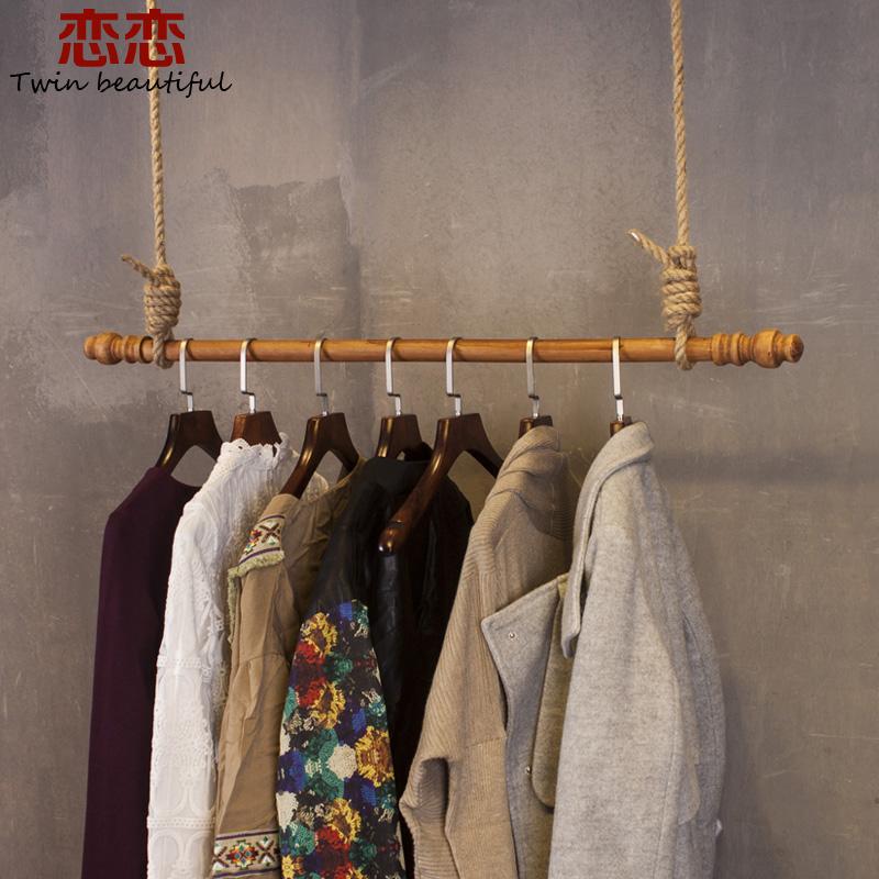 服装店复古实木上墙侧挂衣架展示架吊顶木质吊架挂衣架子货架壁挂