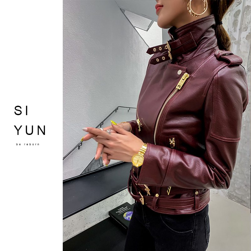Spring and autumn 2020 new classic design suit sheepskin leather leather jacket women's jacket motorcycle short slim fit