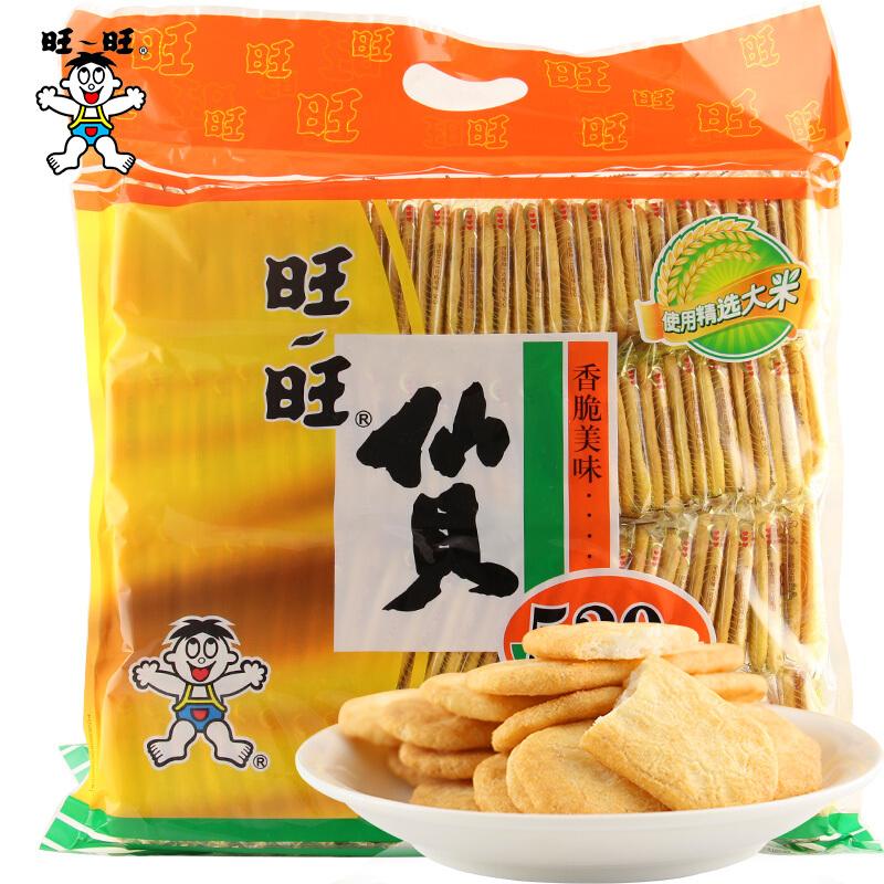 旺旺仙贝520g袋装整箱搞大了儿童超大零食大礼包散装促销包邮图片