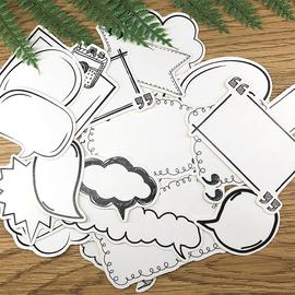 手写标签贴纸 可爱黑白对话框手账贴纸 手帐素材 相册DIY工具装饰