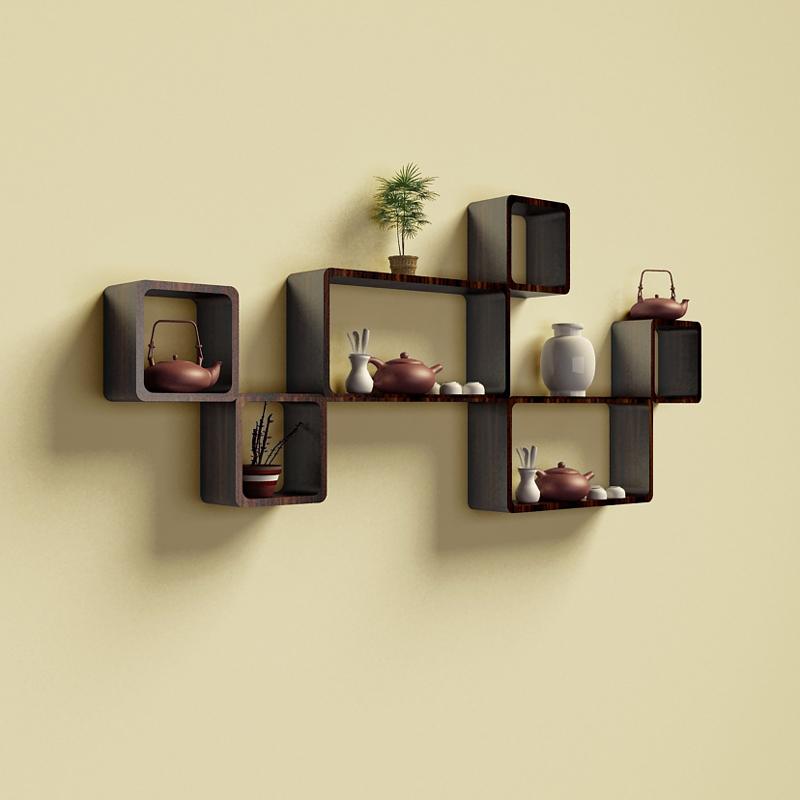 创意格子墙上置物架墙壁电视背景墙装饰客厅卧室隔板墙面书架壁挂