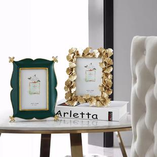 美式轻奢复古6寸相框摆台欧式创意个性婚纱照样板房桌面相框摆件