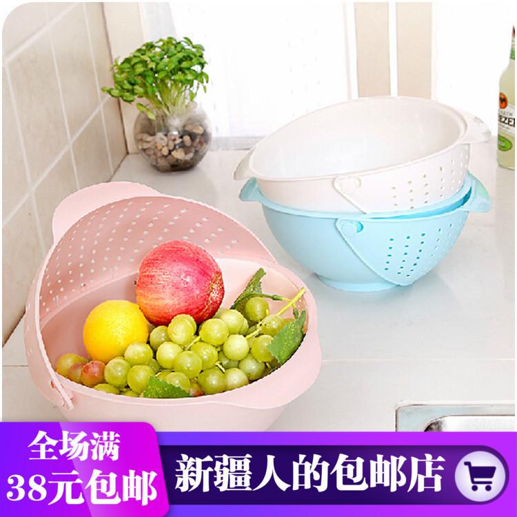 厨房三合一蔬果篮 翻盖沥水洗米盆 加高洗菜瓜果盘 洗菜篮