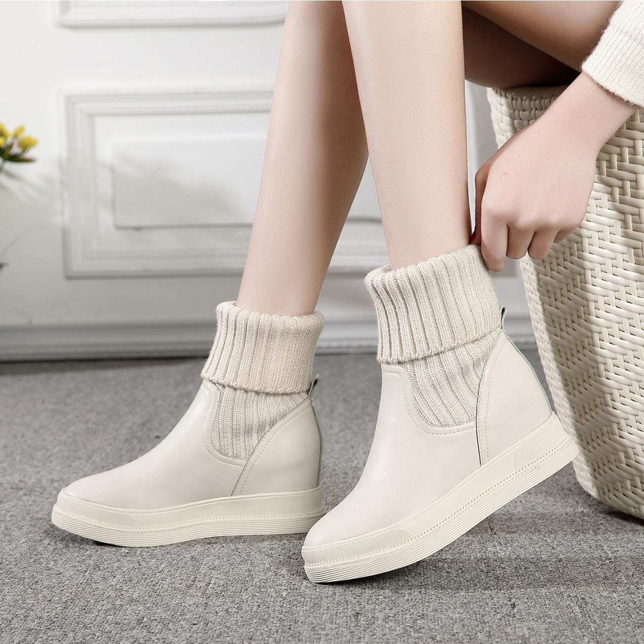 2020秋冬新款米白色圆头内增高女靴毛线短靴女高跟休闲加绒毛线靴
