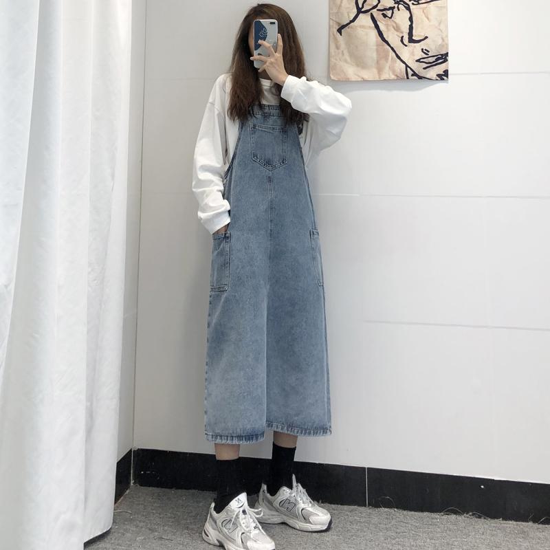 啊啦柏盐系牛仔背带裙女中长款春夏小个子学生韩版洋气减龄连衣裙